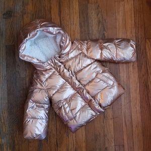 Baby Gap Rose Gold Puffer Coat - 3T